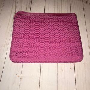 Coach pink logo iPad tablet zip case
